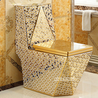 Household One Piece Toilets European style Luxury Ceramic Toilet Siphon Flushing Floor Mounted Toilet Adult Bathroom Seat Toilet