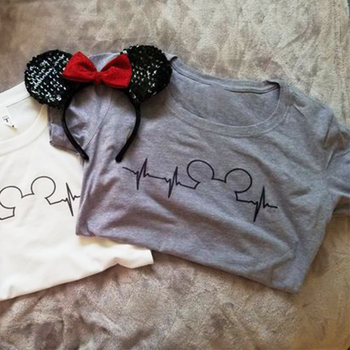 Mickey Mouse Heartbeat Graphic T-shirt XS-3XL