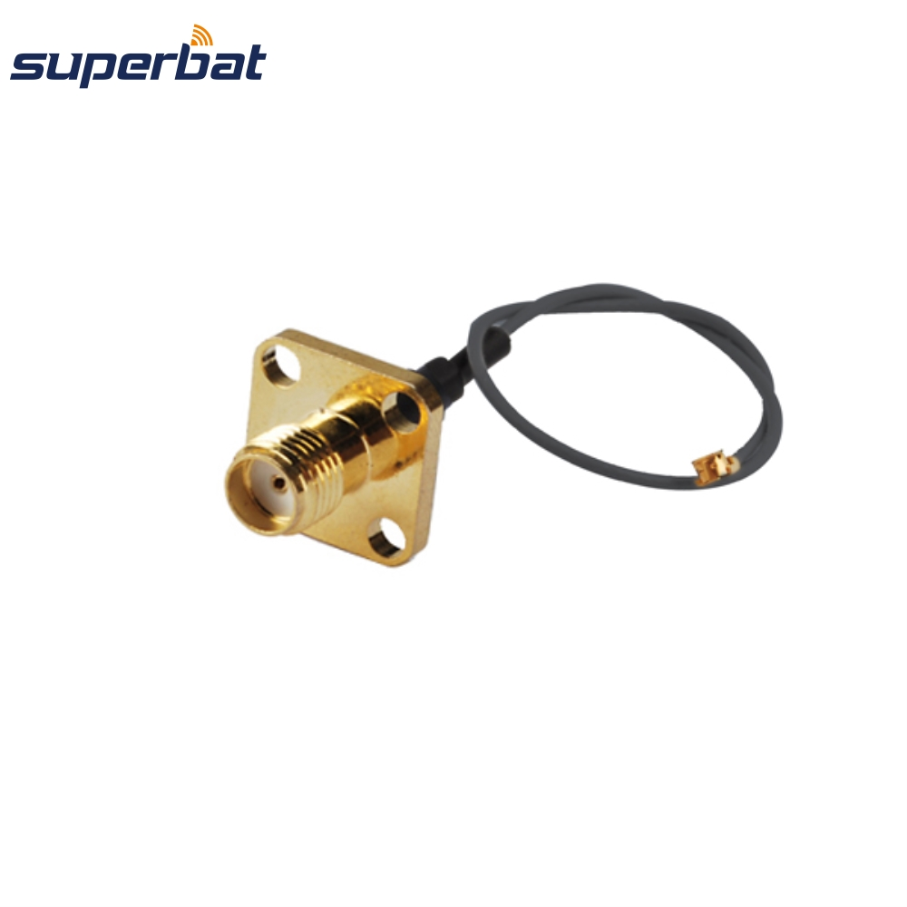 Superbat RF Coax Cable IPX/u.fl To SMA Female Jack Flange 4 Hole Cable 1.13mm Pigtail 6