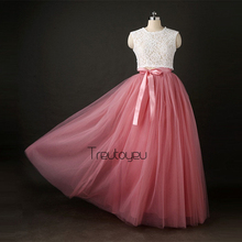 [Best Quality] 7 Layers 110cm Long Tulle Skirts Womens Pleated Skirt Fashion Wedding Bridal Bridesmaid Skirt Faldas Jupe Saias