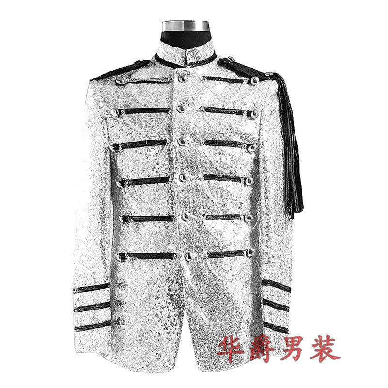 Vyriški blizgantys sidabro sidabriniai kostiumai Kostiumai Homme - Vyriški drabužiai - Nuotrauka 2