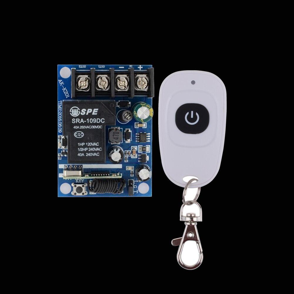 DC 12 V 14 V 15 V 16 V 18 V 24 V 36 V 48 V Relè Ricevitore 40A RF Interruttore di Telecomando Apprendimento del Codice + Bianco Un Telecomando trasmettitore
