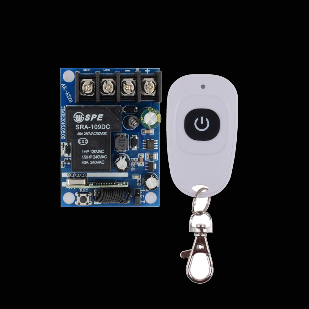 DC 12V 14V 15V 16V 18V 24V 36V 48V Relay Receiver 40A RF Remote Control Switch Learning Code + White One Remote Transmitter yt04 12v 4 channel remote switch 4 button remote control w learning code off white white