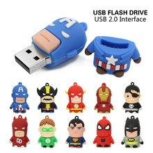 Usb Flash Drive 16 gb 8 gb 4 gb Pen Drive Pendrive Capitano Americano Spider Man Iron Man Batman Superman u disk memory stick u disco(China)