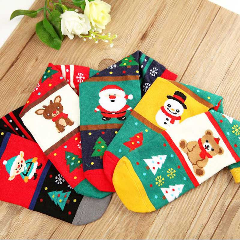 SP&CITY 5 Pairs Winter Crew Women Cartoon Christmas Socks Cotton Funny Elk Comfortable Ankle Casual Girls Warm Happy Art Sox