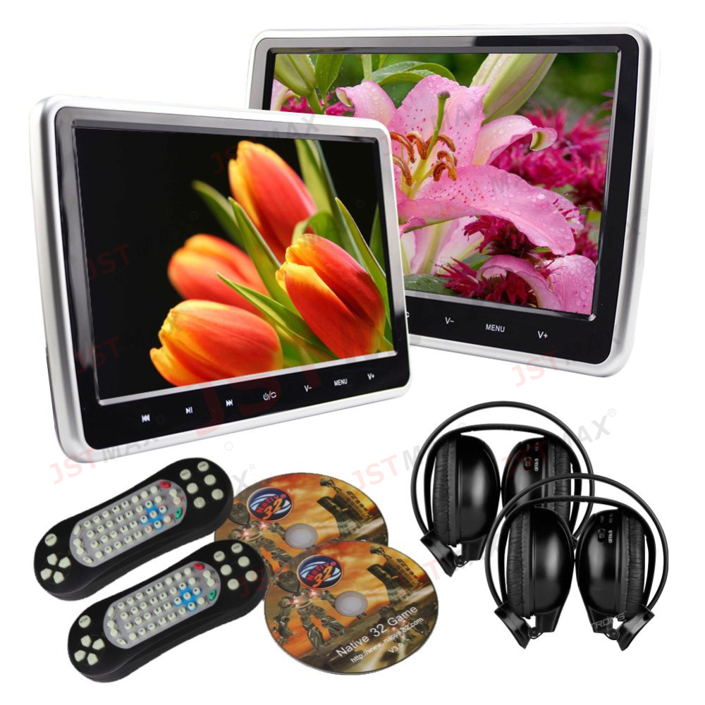 JSTMAX 10.1 Inch 1024*600 Car Headrest Monitor DVD Player USB/SD/HDMI TFT LCD Screen Touch Button 32 Bit Game Remote Control 2x 10 1 inch 1024 600 car headrest monitor dvd player usb sd hdmi fm game tft lcd screen touch button support wireless headphone