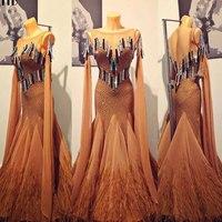 Modern Waltz Tango Ballroom Dance Dress,Smooth Ballroom Dress,Standard Ballroom Dress ,feather Rhinestone dance dress