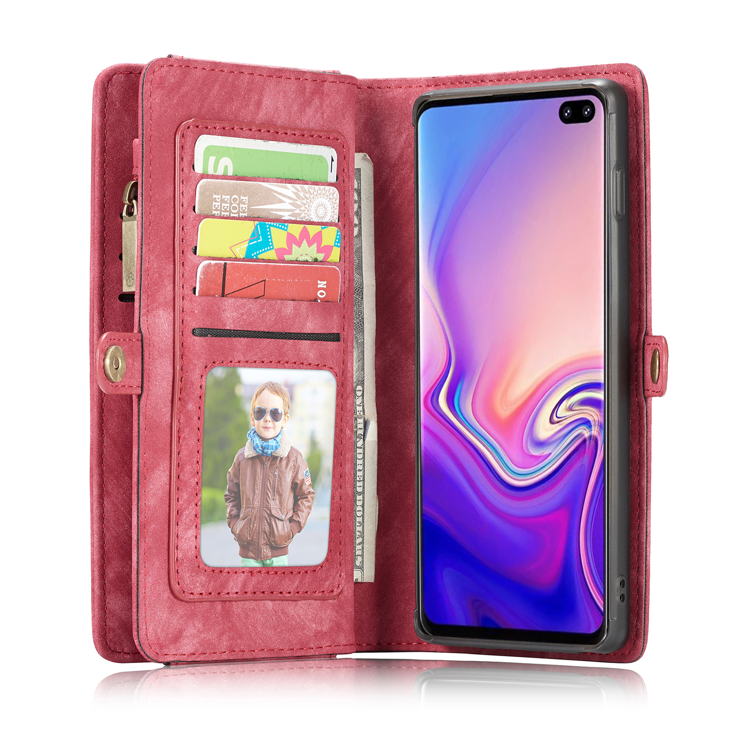 CaseMe For Samsung Galaxy S10 S9 S8 Plus S10E Stand Leather Soft TPU Magnetic Flip Wallet Slot Separable For Galaxy Note 9 8