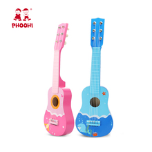 21 Inch Wooden Guitar Toy 6 Strings Baby Acoustic Educational Blue Pink Musical Instrument For Kids PHOOHI