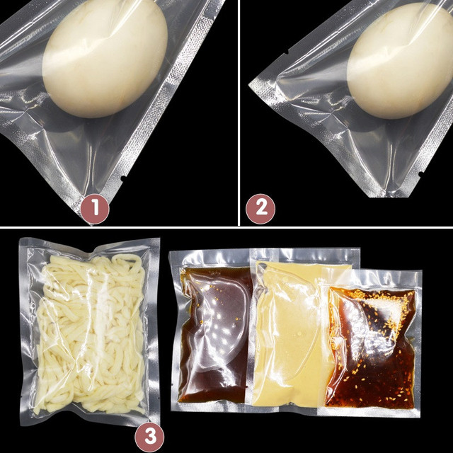100pcs/lot Size Available Vacuum Sealing Packing Bags Good Quality Food Fresh Keeping Smooth Inside And Outside Kitchen Tool