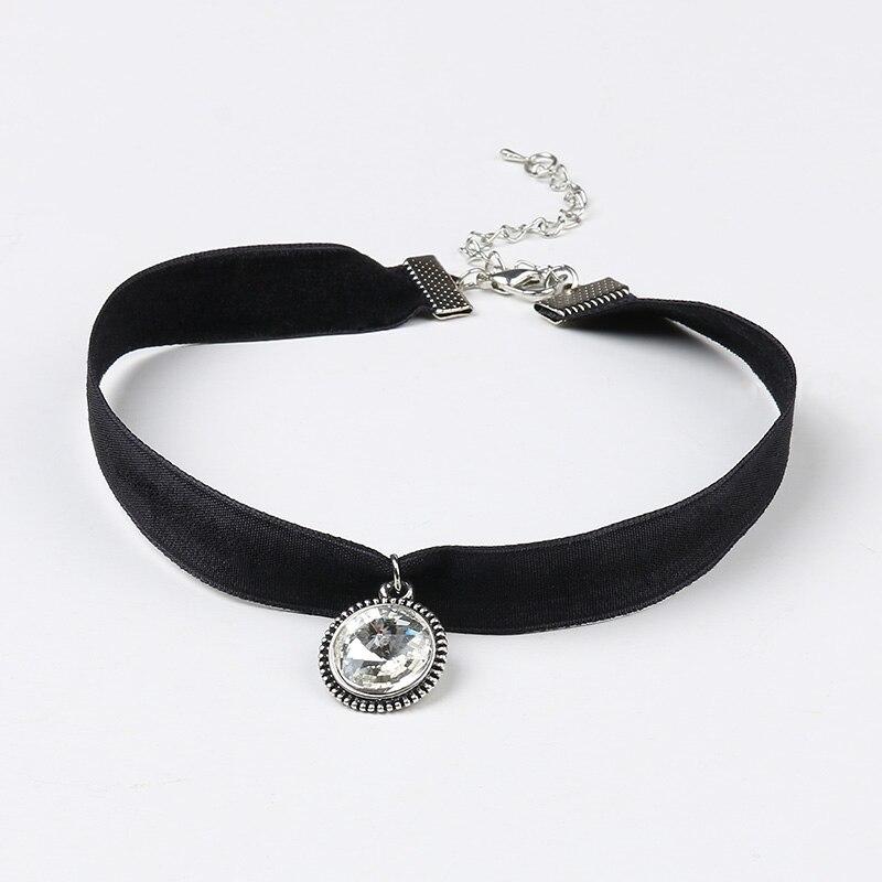 SRCOI Fashion Black Choker Necklace With Clear Rhinestone