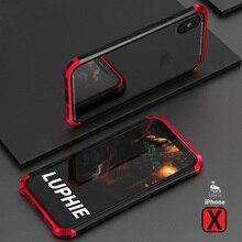 Carcasa delgada de Metal para iPhone X, carcasa de plástico de aluminio templado con carcasas híbridas laterales para iPhoneX 10, carcasa transparente Original de lujo