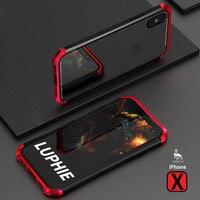 For Iphone X Glass Case Luxury Slim Cover Transparent Tempered Metal Aluminum Plastics 360 Protection Cover