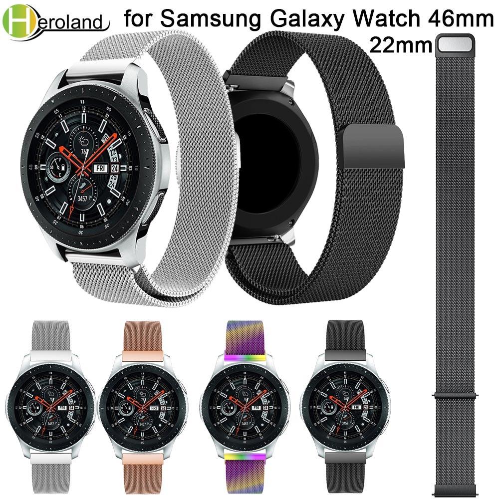 20 22MM Watch Strap stainless steel For Samsung Galaxy Watch 42 46MM band milanese wrist Smart WatchBand Strap magnet closure все цены