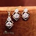 Fashion Women Gold Plated Jewelry Set CZ Stone Pendant Necklace + Earrings Crystal jewelry Wedding Jewelry Sets