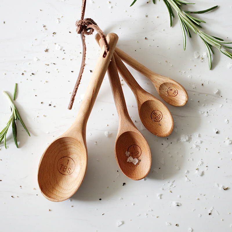 Wooden Measuring Spoons Natural Wood Spoon Set Useful Spice Sugar Salt Measuring Scoop Baking Tools Kitchen Utensils (5)