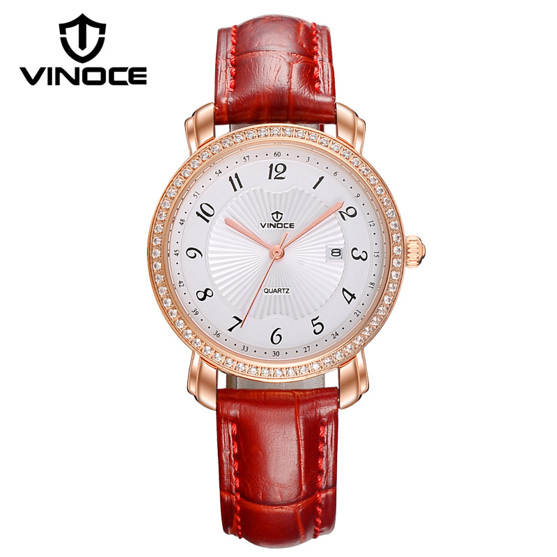 VINOCE Watch Women Luxury Crystal Diamond Dial Ladies Quartz Watch Relogio Feminino 2018 Top Brand Women Leather Watches #V6262L amica luxury crystal diamond blue shell dial womens quartz watch ladies watch