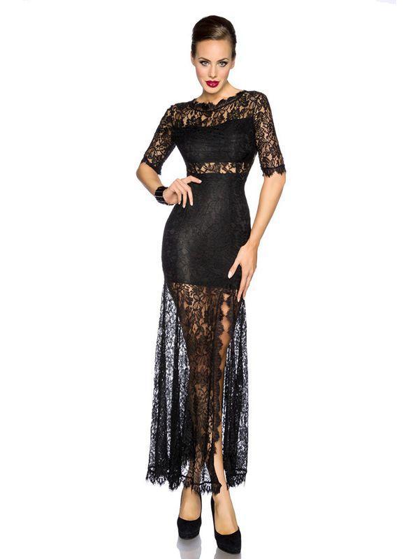 2016 New Vintage Elegant Women Maxi Dress Half Sleeve Back Deep-V Long Black Lace Dress Vestidos