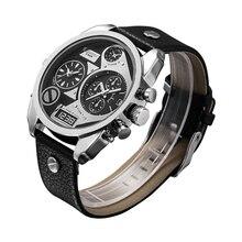 Watch Men Luxury Leather Bracelet Mens Watches Daul Time Zones Date Military Wirstwatches Sports Relogio Masculino Erkek Cagarny