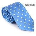 Smith a medida Para Hombre de Lujo Natural Puro Corbata De Seda Corbata De Diseño de Moda Clásico Del Lunar Azul Vestido Formal Corbata De Boda