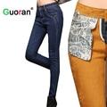 {Guoran} mulheres calças de Brim Calças de Inverno Plus Size 26-32 Senhoras Engrossar Quente Veludo Denim Calças Jeans Femininas Calças skinny Azul quente calças