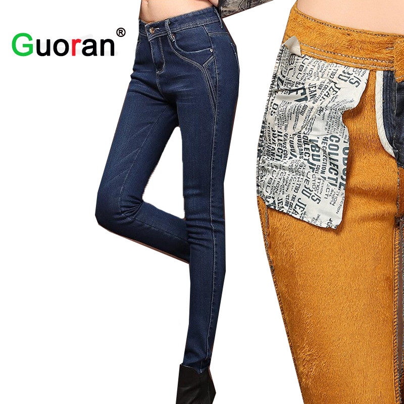 Women Winter   Jeans   Pants Plus size 26-32 Ladies Thicken Warm Velvet Denim   Jeans   Trousers Female Blue skinny warm pants 2018