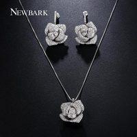 NEWBARK Love Rose Flower Jewelry Sets Women Silver Color Snake Chain CZ Diamond Necklace Pendants Earrings