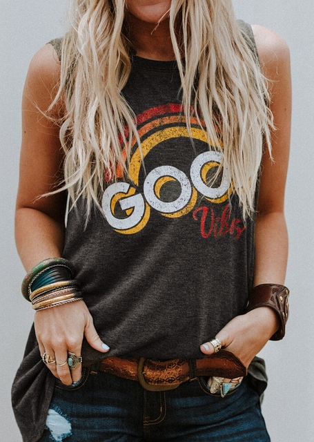 1f23ddfd77471c Rainbow letter GOOD VIBES printed casual vest women s pattern popular T- shirt round neck sleeveless