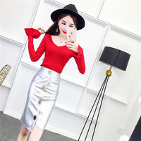2018 spring women's V-neck hooded sweater+irregular silver pu leather skirt suits female knitting tops+pencil skirt 2 piece sets