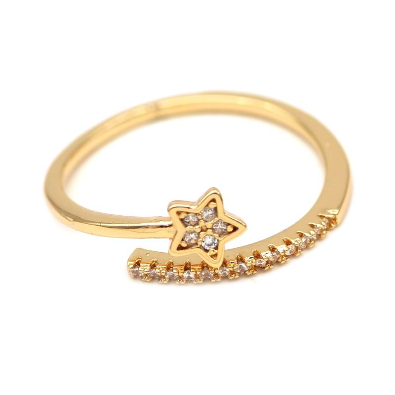 Shiny Rhinestone Star Shaped Rings For Women Adjustable Fashion Open Ring Wholesale Party Jewelry Bijoux Special Gift