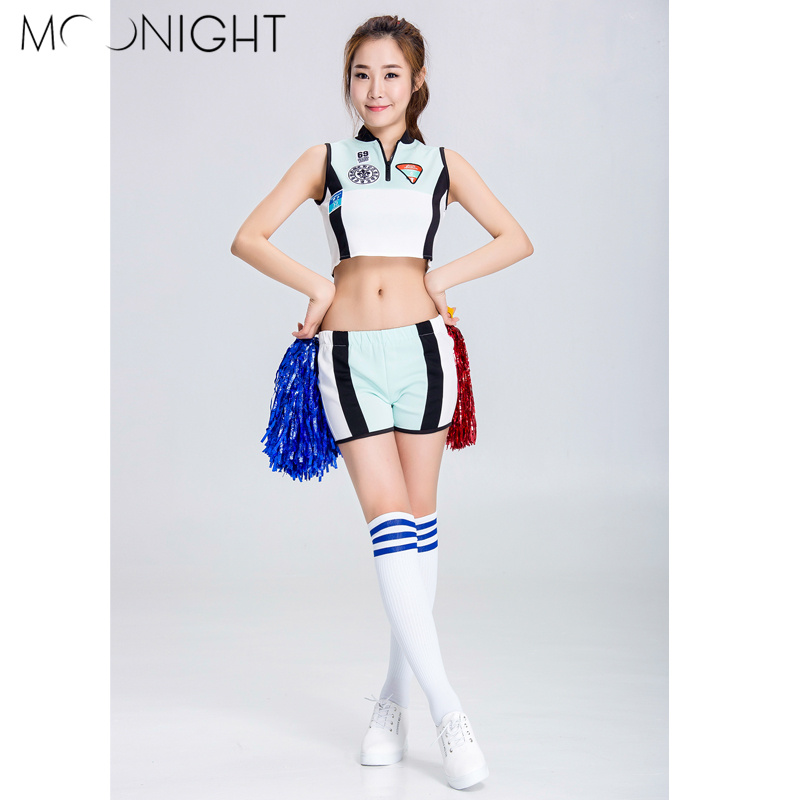 MOONIGHT 2 Pcs Women Cheer Leader Costumes White Sexy School Girls Cheerleader Costumes