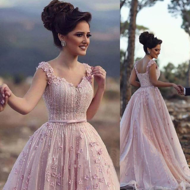 Blush Pink Engagement Party Dress Robe De Soiree Romancic Beaded Flower Evening Gowns V