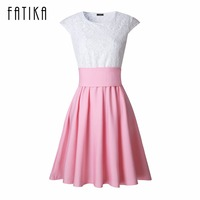 FATIKA Women 2017 New Fashion Dress With Belt Bow A Line Patchwork Empire Draped Lace Cute