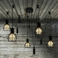 Restaurant clothing Store creative Nordic pendant lights Personality black pulley lifting Pendant lamp Dining Cafe modern light