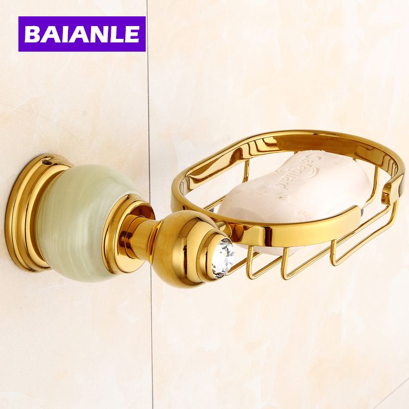 Euro style Jade & Brass Gold Bathroom Accessories Soap Dishes / Soap Holder/Soap Case home decoration Free Shipping copper bathroom shelf basket soap dish copper storage holder silver