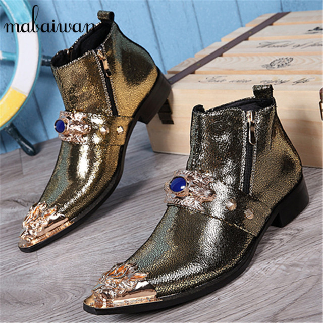 New Gold Men Genuine Leather Metal Tip Pointed Toe Mens Dress Ankle Boots Vintage Cowboy Knight Martin Boots Botas Hombre