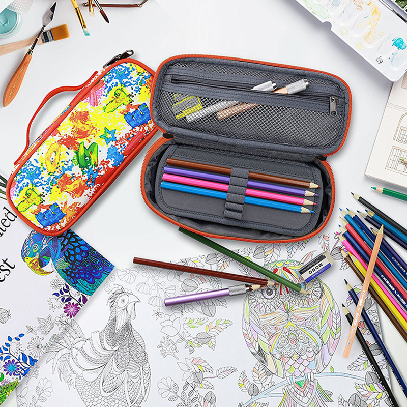 Canvas Colorful Graffiti School Pencil Case Kawaii Penal Pencilcase Kid Boys Girls Large Pen Bag Box Ark Marker Colored Pencils in Pencil Bags from Office School Supplies