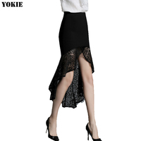 Pencil skirt women lace cotton solid black ankle length trumpet mermaid high waist skirts female OL office skinny women skirts