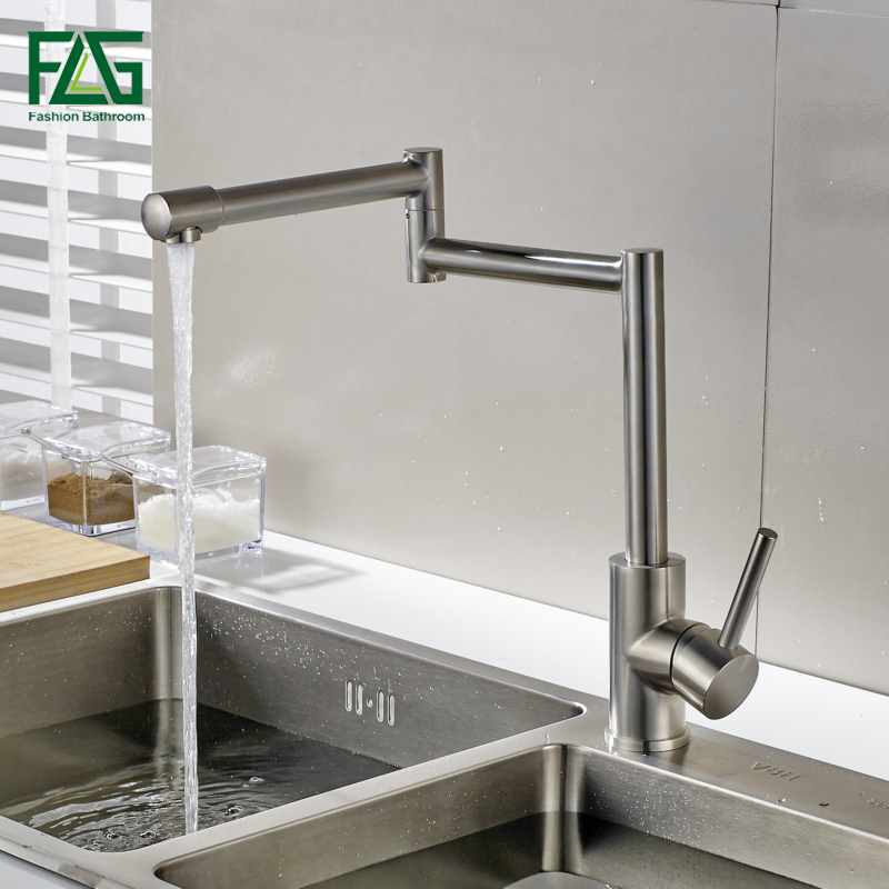 Stainless steel Folding Kitchen Faucet Swivel Single Handle Mixer Brushed Tap