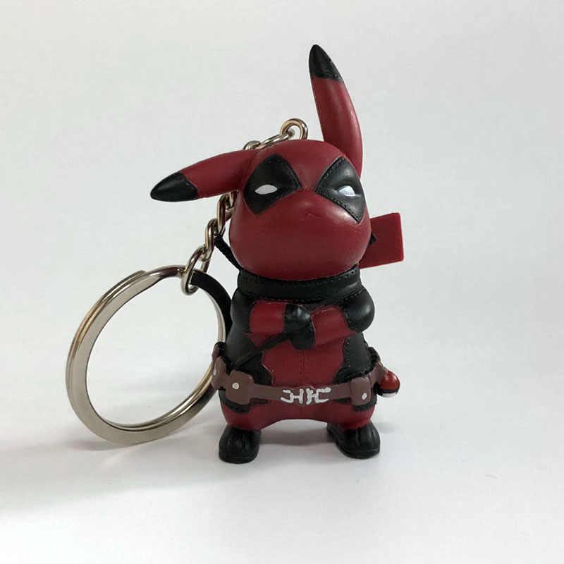 Deadpool COS Keychain Action Figure Modelo Boneca Pikachu Chaveiro Toy Presente Para Coleção