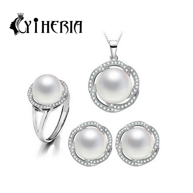 CYTHERIA 100% natural Pearl set, jewelry sets 925 silver pearl pendant necklace and earrings for women top quality