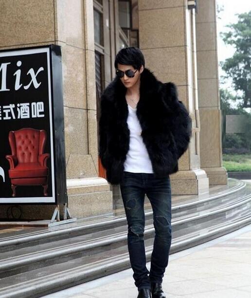 브라운 블랙 플러스 따뜻한 가짜 여우 모피 코트 망 가죽 자켓 남성 짧은 코트 villus 겨울 느슨한 열 두껍게 겉옷
