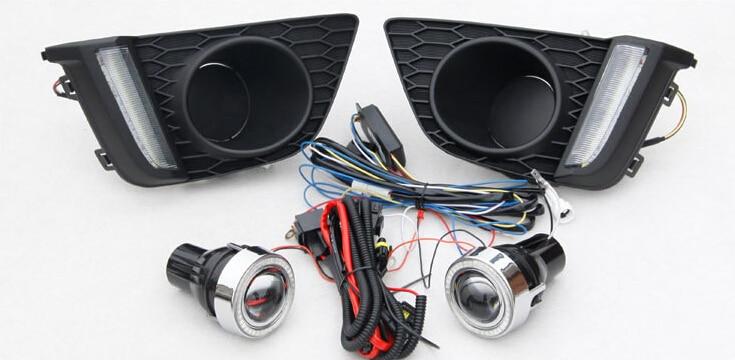 Светодиодные DRL фары дневного света(2 optinals) + cob ангел глаз(6 опций) + игра Halo туман Лампа + проектор объектив для Хонда фит джаз 2014
