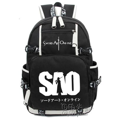 Hot Anime Sword Art Online Backpack Cosplay sao Luminous Canvas Bag Schoolbag Travel Bags
