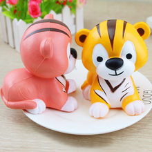 2018 Jumbo Kawaii Squishy Tiger Squeeze Squishy Slow Rising Animal Phone Straps Soft Scented Cake Toys Doll Gift Wholesales(China)