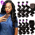 Indian Virgin Hair With Closure 3 Bundles Indian Body Wave With Closure Grade 7AUnprocessed Human Hair Bundles With Lace Closure