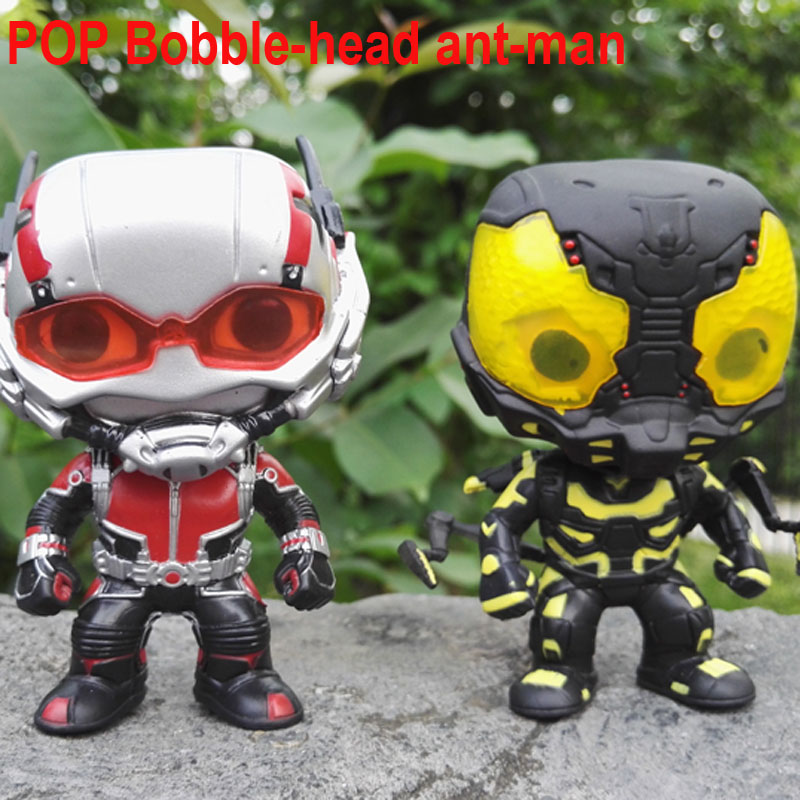 New FUNKO POP ANT-MAN No.85 Yellow Jacket NO.66 ant man Vinly Bobble-head PVC Action Figure Collectible Model Toy for Children  funko pop marvel the hulk no 08 red hulk no 31 iron man vinly bobble head pvc action figure collectible model toy gift for kids
