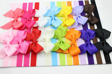 Retail 6pcs/lot kids hairbow Large Bows Headband for little girl Hair Accessories elastic headbands bebe hairbands