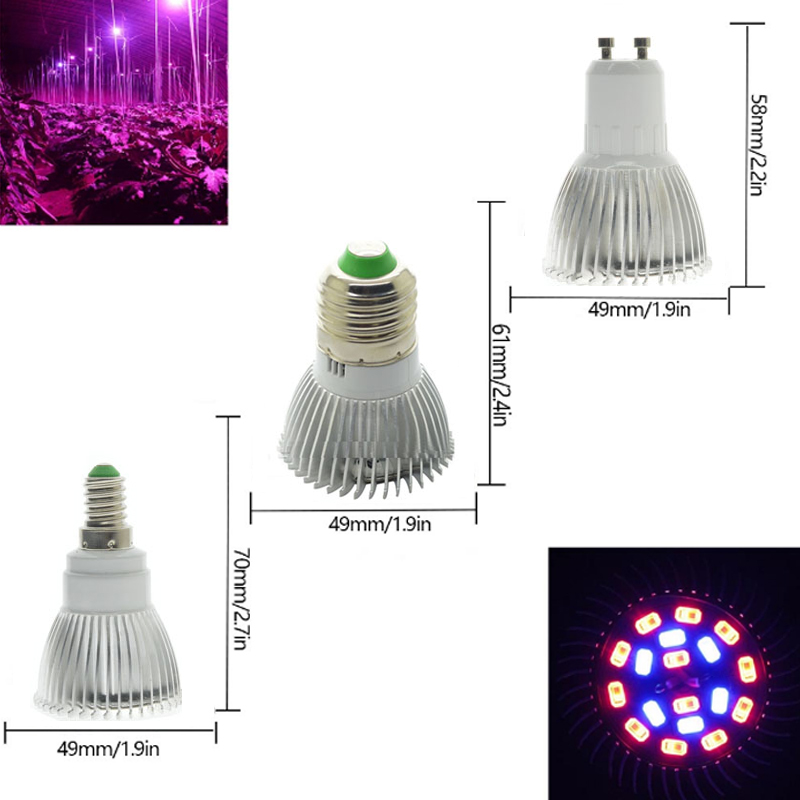 Full Spectrum Cfl LED Grow Light Lampada E27 E14 GU10 Indoor Plant Lamp Flowering Hydroponics System  Garden 110V 220V