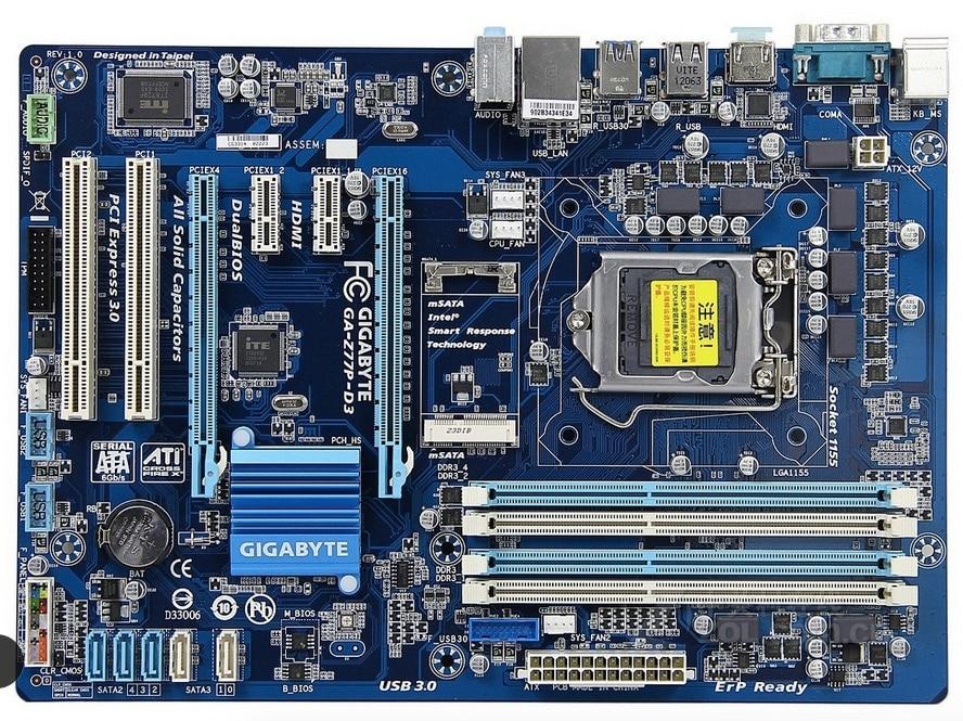 motherboard Gigabyte GA-Z77P-D3 LGA 1155 DDR3 Z77P-D3 boards HDMI USB2.0 USB3.0 32GB Z77 desktop motherboard free shipping gigabyte ga p67a ud3r b3 original desktop motherboard ddr3 lga1155 4 channels 32gb p67a ud3r b3 p67 motherboard free shipping
